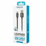 Forever micro USB cable leather black